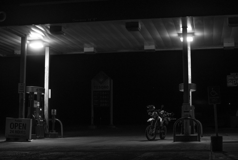 24hr gas stations are the best. At midnight. In the middle of nowhere. Running on fumes.