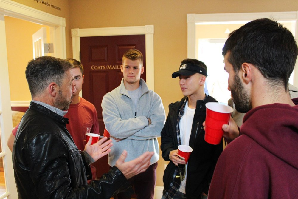 Alumni Rick Cusick shares stories with current brothers