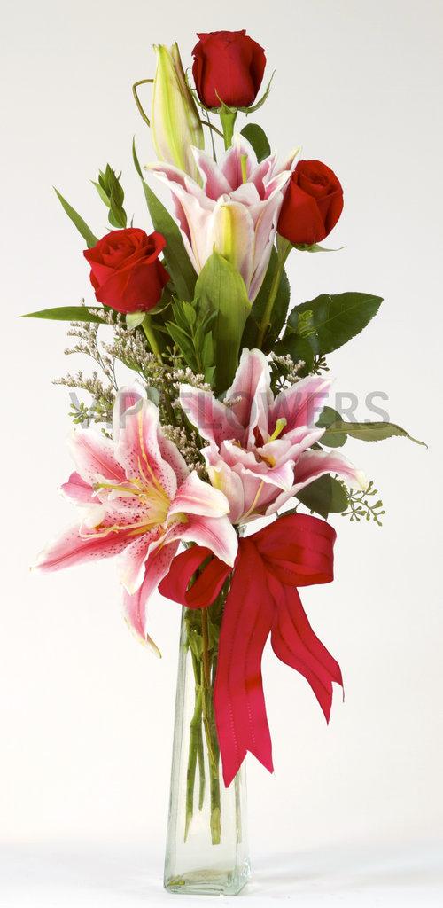 3 Roses Lilies In Bud Vase Vip Flowers Portland Florist