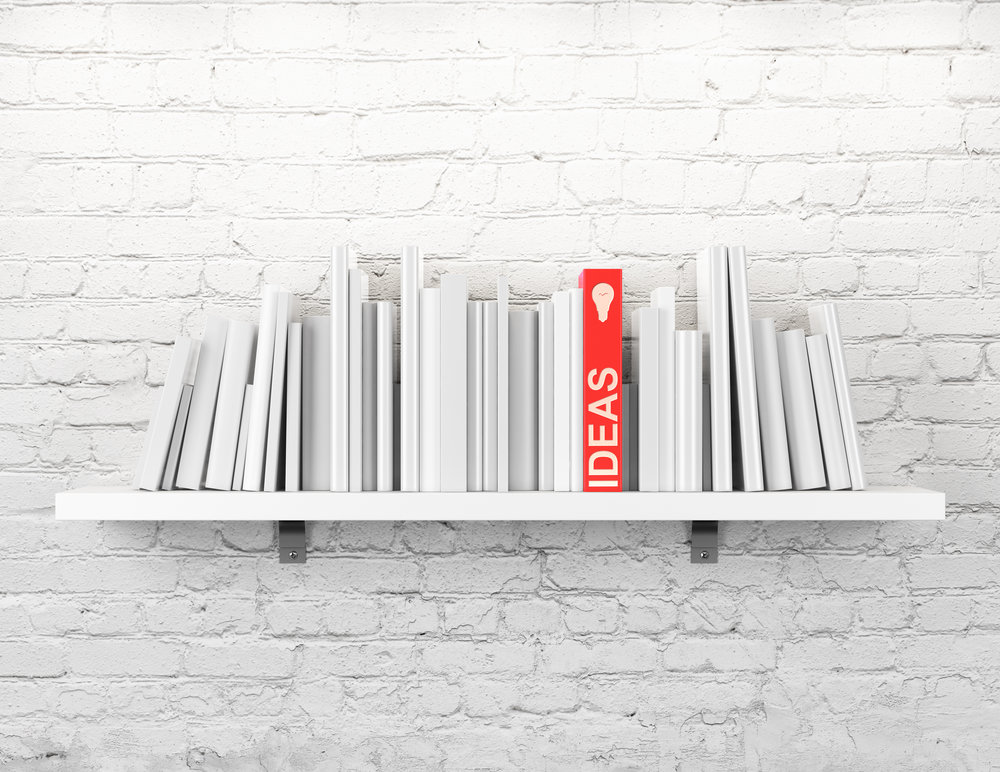 """Figure 2.  From """"Blank books on a shelf and one with idea cover,"""" by S. Cracho, n.d.,  https://www.shutterstock.com/image-photo/blank-books-on-shelf-one-idea-143419957/ . Copyright 2018 by Sfio Cracho."""