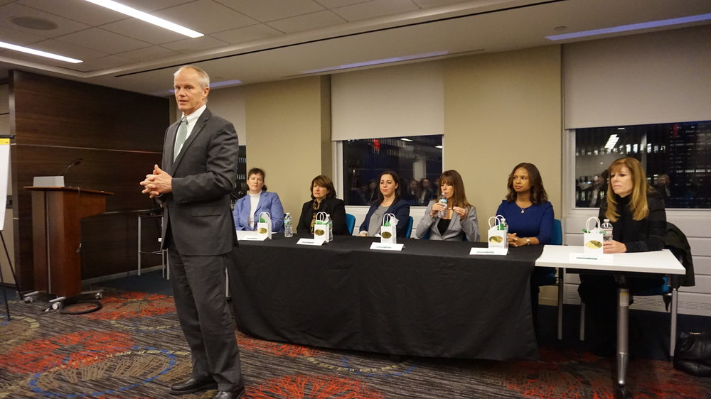 BU President, Harvey Stenger, speaking at BWIB's Annual Winter Women's Panel in NYC
