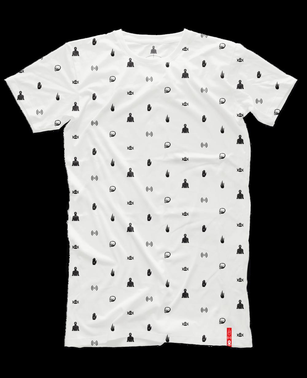 Six Symbols T White All Over Print Barclay Crenshaw