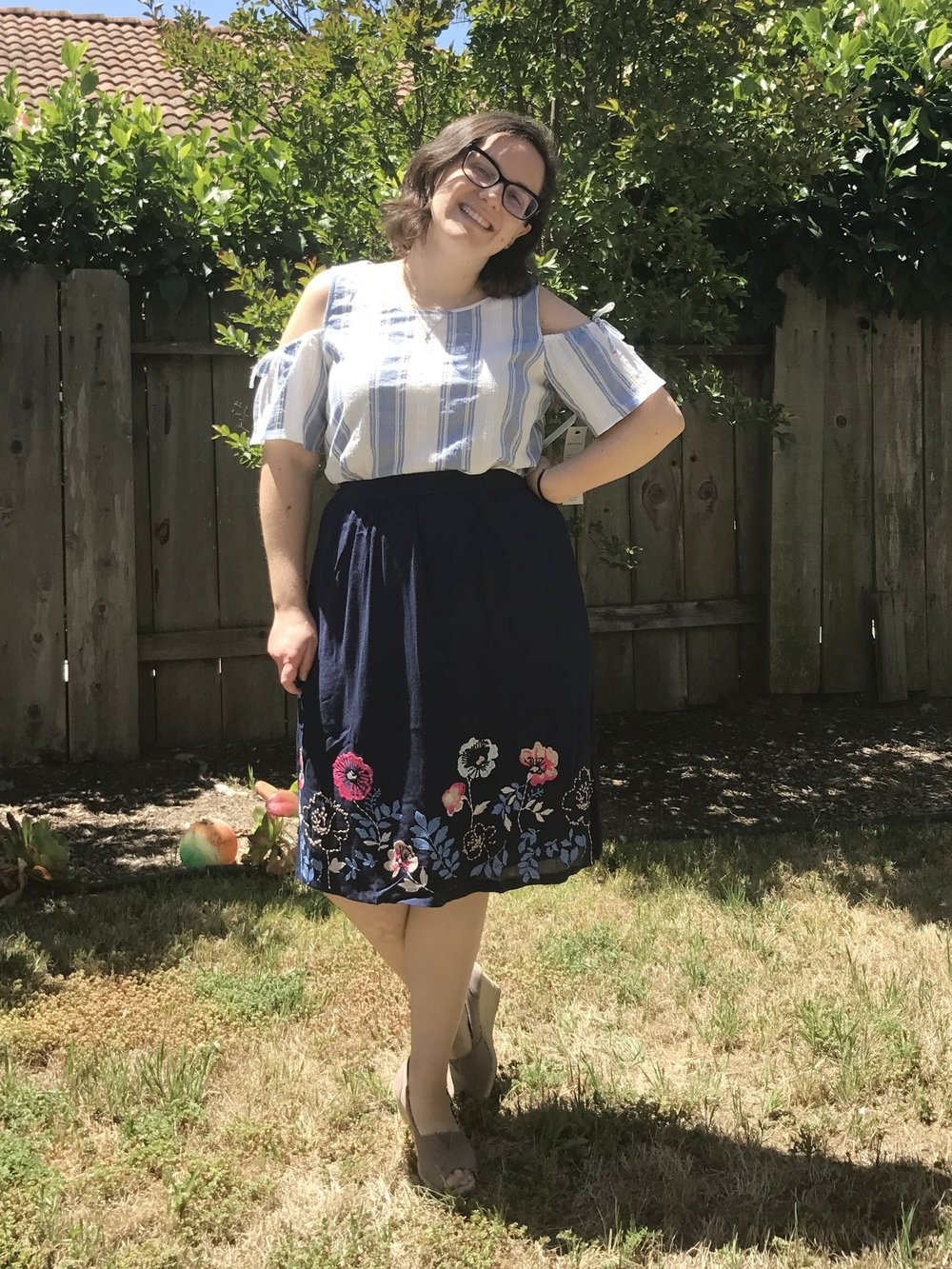 Cooper & Ella Mia Cold Shoulder Top + Skies are Blue Eileen Skirt - Loved both of these, so they were keepers!