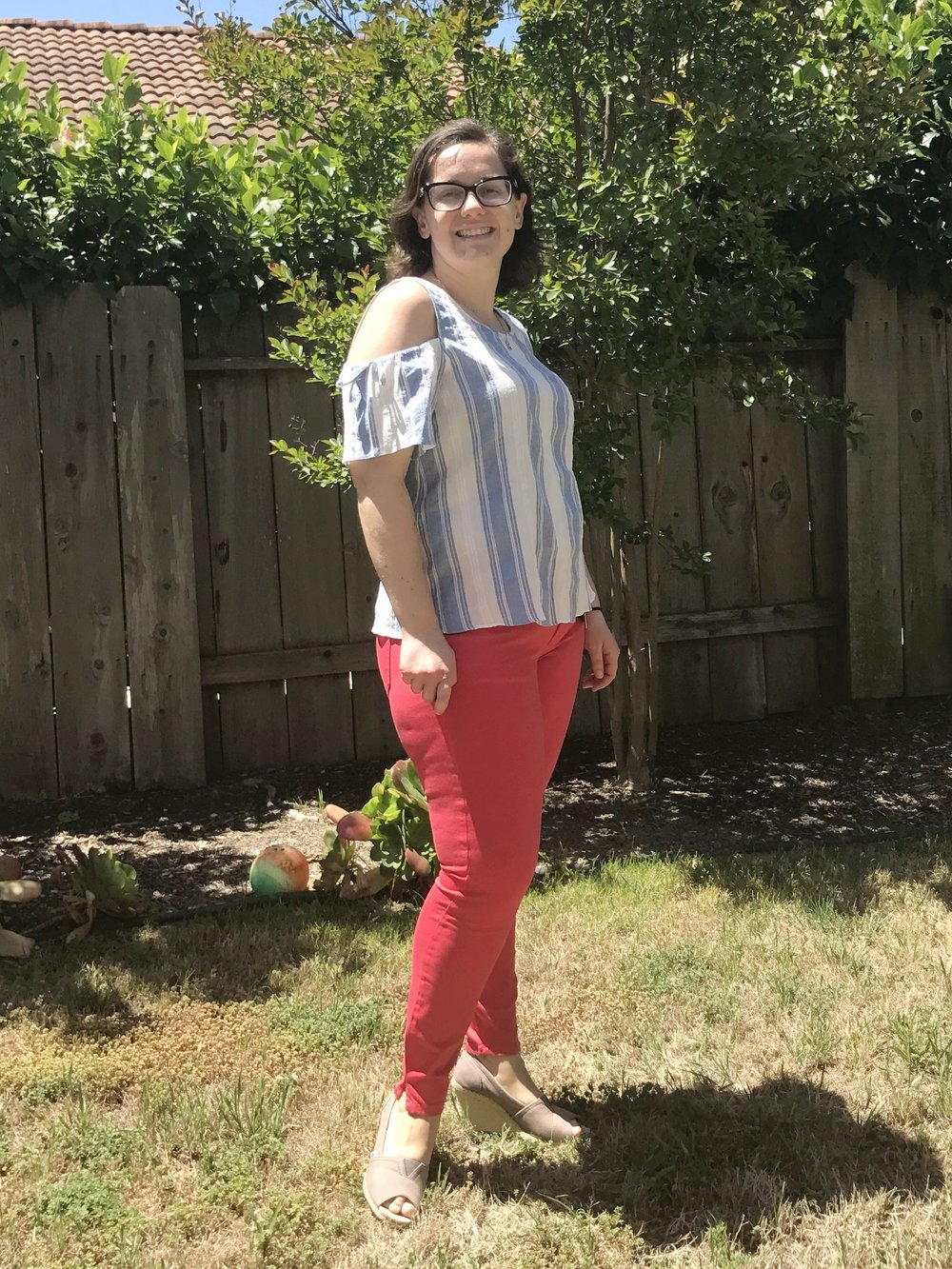The cold shoulder 100% cotton top + Kut From The Kloth red Candace Skinny Jeans - Love the color of jeans, so they were a keeper!
