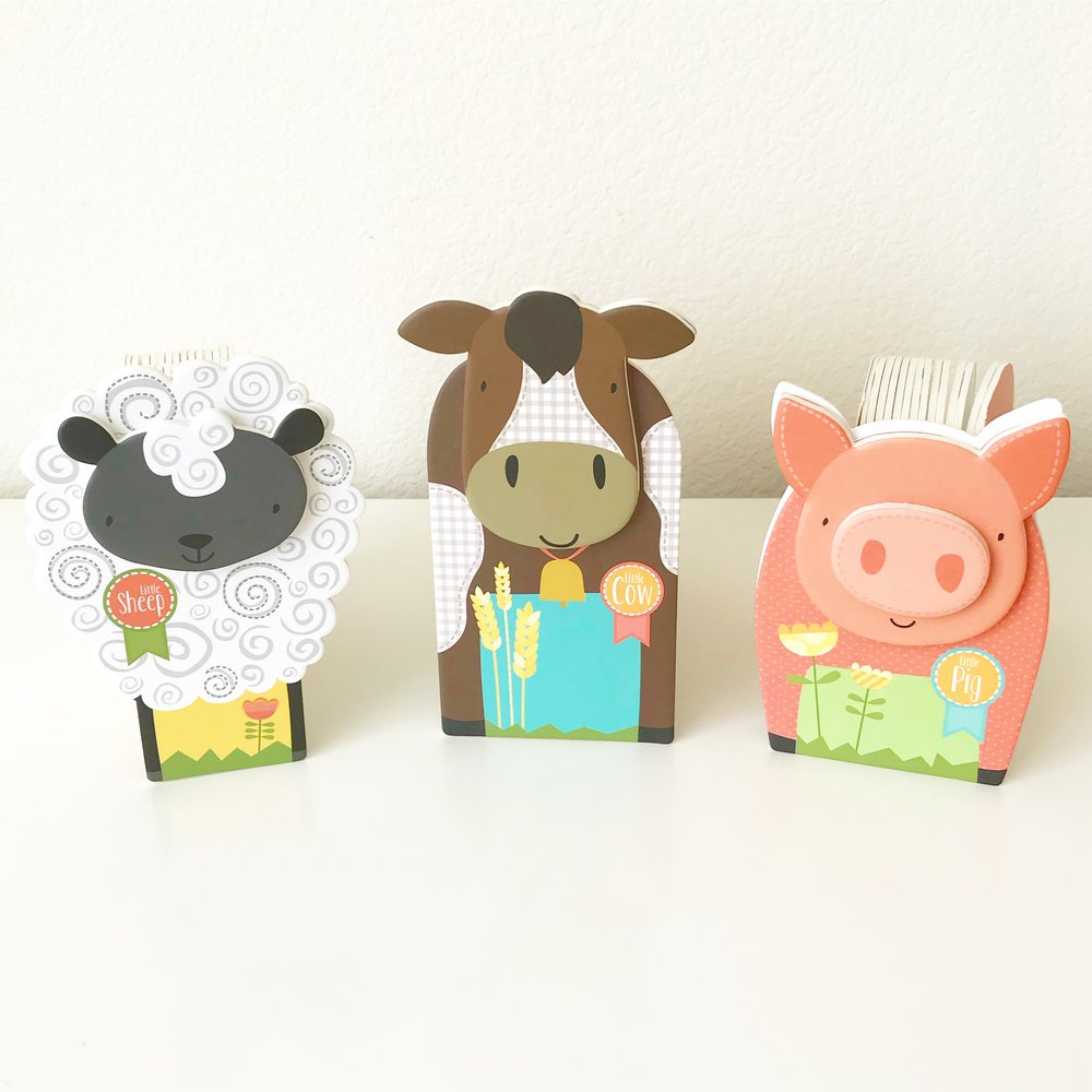 Little Blocky Books   This 3 piece set of farm books is just too cute. Perfect for a gift.
