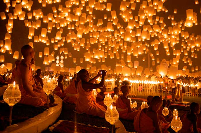 Feb 19   The Pingxi Lantern Festival draws thousands of travelers to Taiwan write their wishes on paper lanterns and release them into the sky.