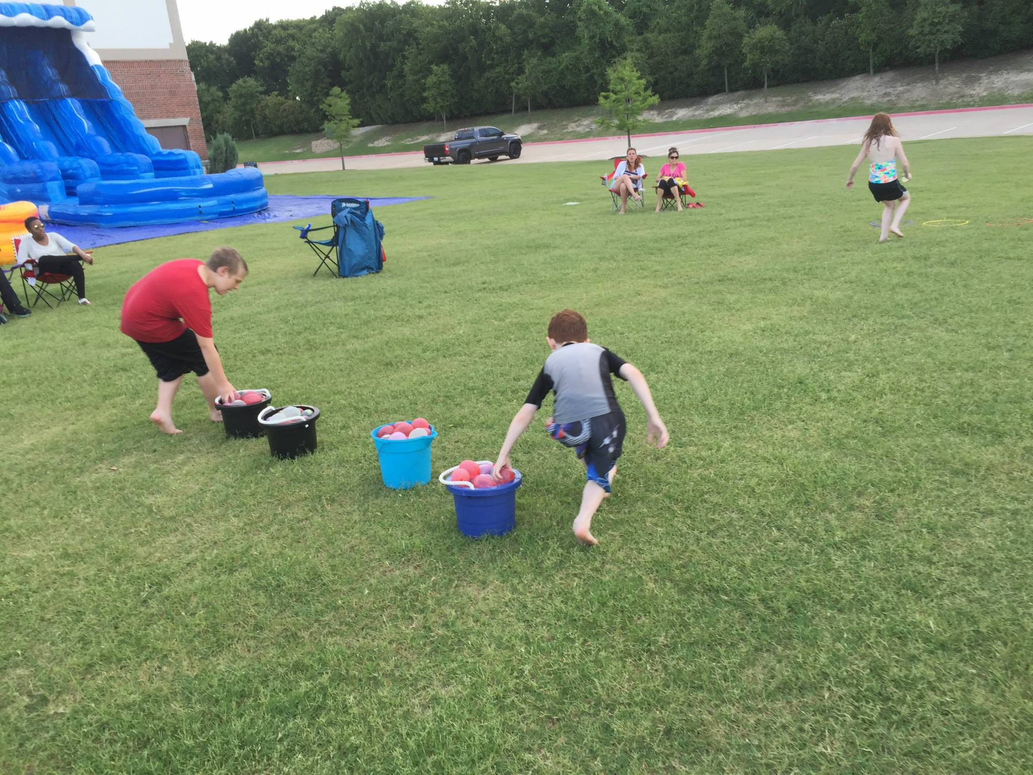 Water balloon relay races