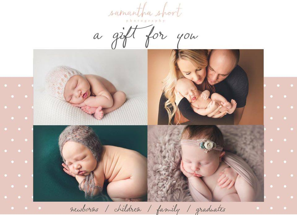 One Full Photography Session by Samantha Short Photography Located in Lebanon, OR Retail Value: Newborn/Graduate $350 OR Children/Family $250 Auctioned on FB