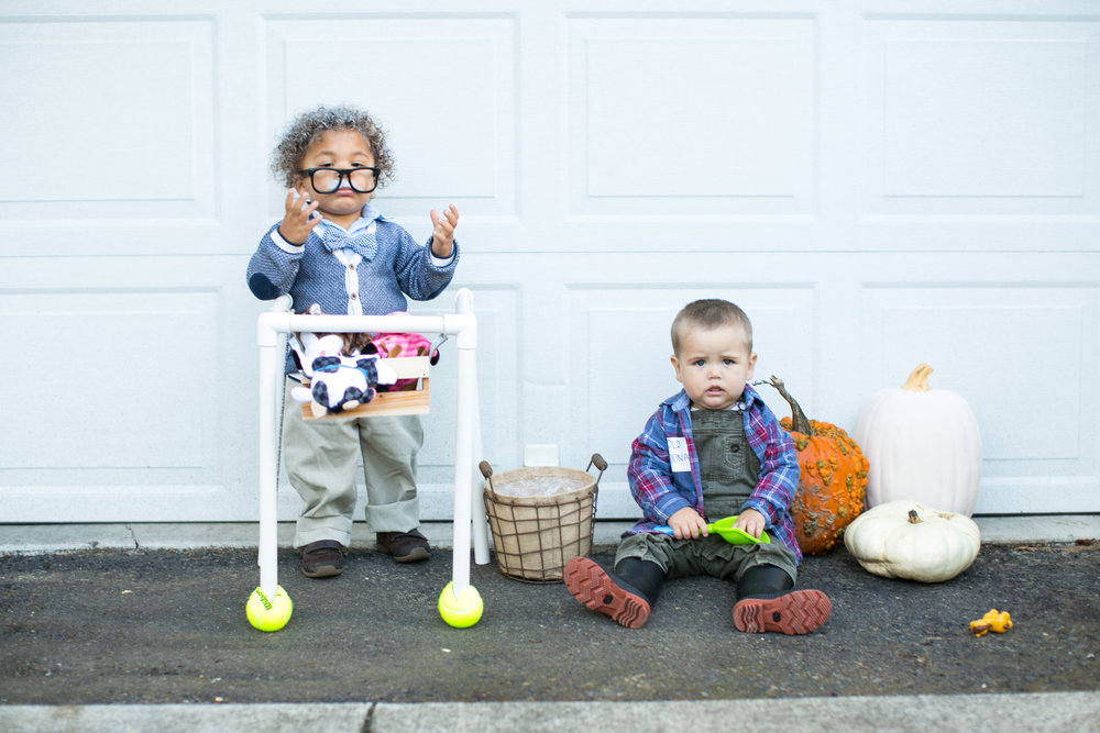 old man baby todder halloween costume and old mcdonald  sc 1 st  Natalie Brenner Writes & Our 2nd Halloween with The Boys u2014 Natalie Brenner Writes