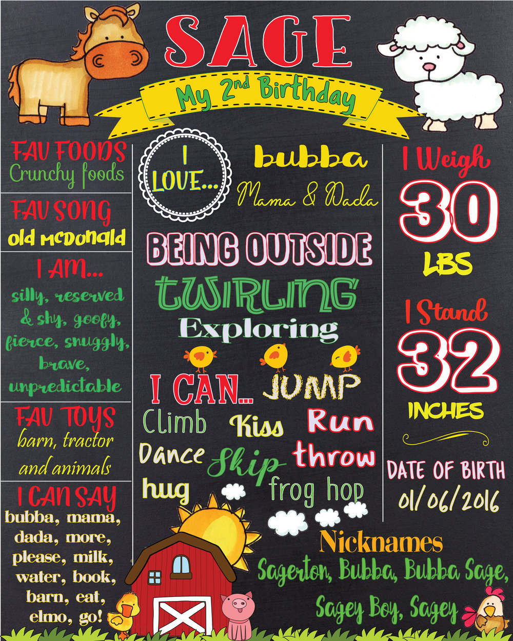 barn animal birthday info chart, two years old