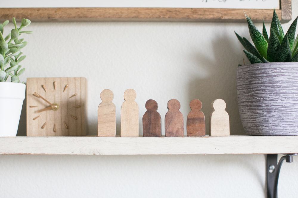 wooden people, stitch and scroll