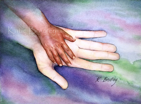 brown and white hands, art piece