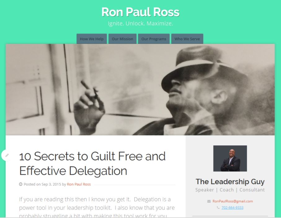 Ron's site, before his branding and messaging overhaul.