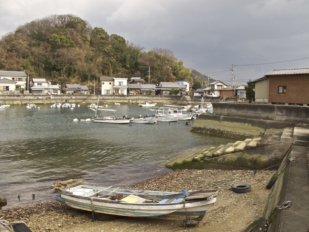 The port town of Tarumi where ferries from Takehara on the Honshu Island mainland arrive at Osaki-kamijima.