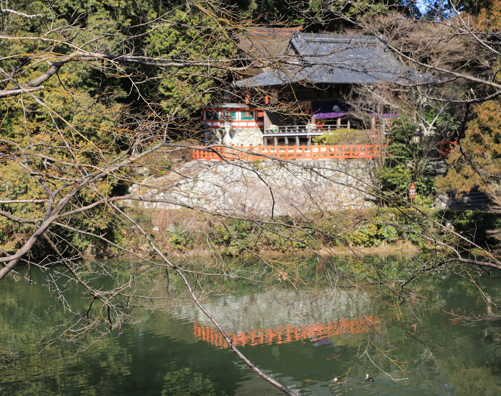The Takagamo Shrine was built by the ancient and powerful Kamo clan who also sponsored the Kamogamo and Shimogamo Shrines in Kyoto. It is located across the pond from Oi Soba, a delightful country restaurant.