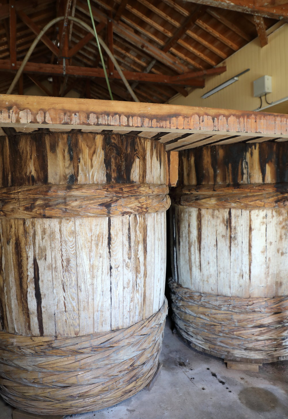 The large wooden barrels called  kioke  are not only vessels in which to make soy sauce but also a key ingredient given how they influence the soy sauce's aroma, color, and taste.