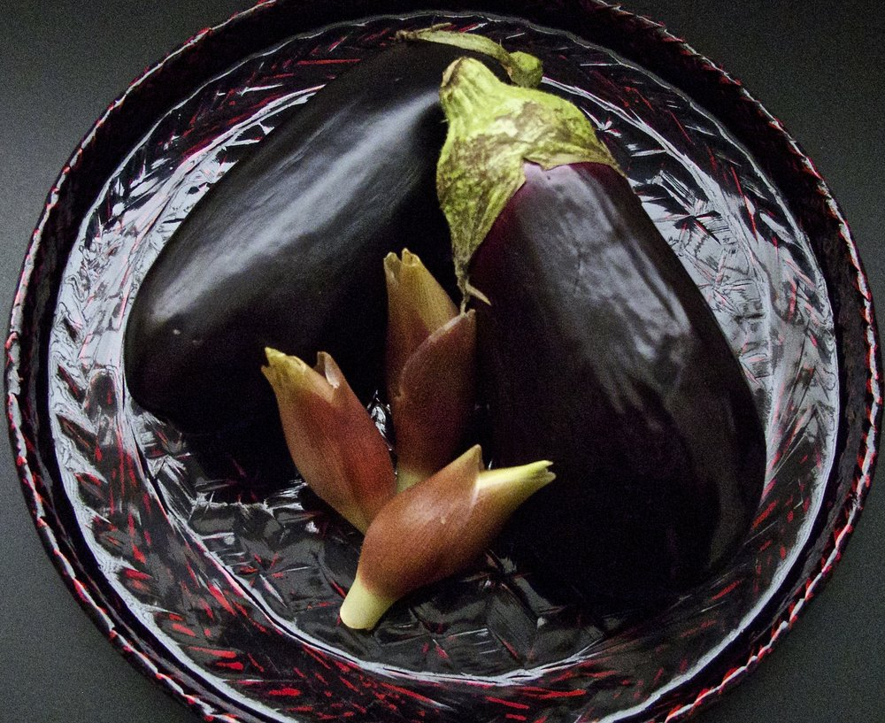Kyo-yamashina-nasu  eggplant and the orchid-like flower buds of  myoga  that are used to make  shibazuke .