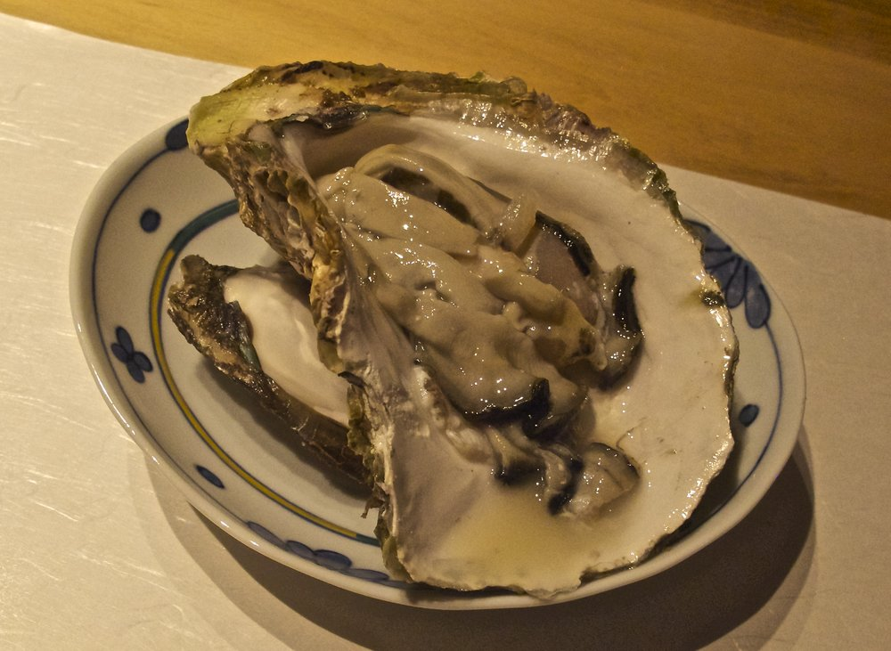 Plump, briny, milky  i  wagaki , or rock oyster, is a protein-rich big piece of meat that is usually served sliced and best when eaten raw.