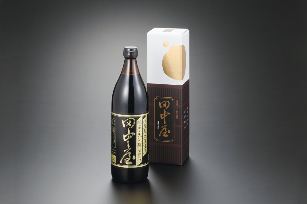 "Tanakaya's "" Koikuchi "" soy sauce is labelled "" Junsei Tennen Jozo Shoyu "" or ""Pure Naturally Brewed Soy Sauce."""