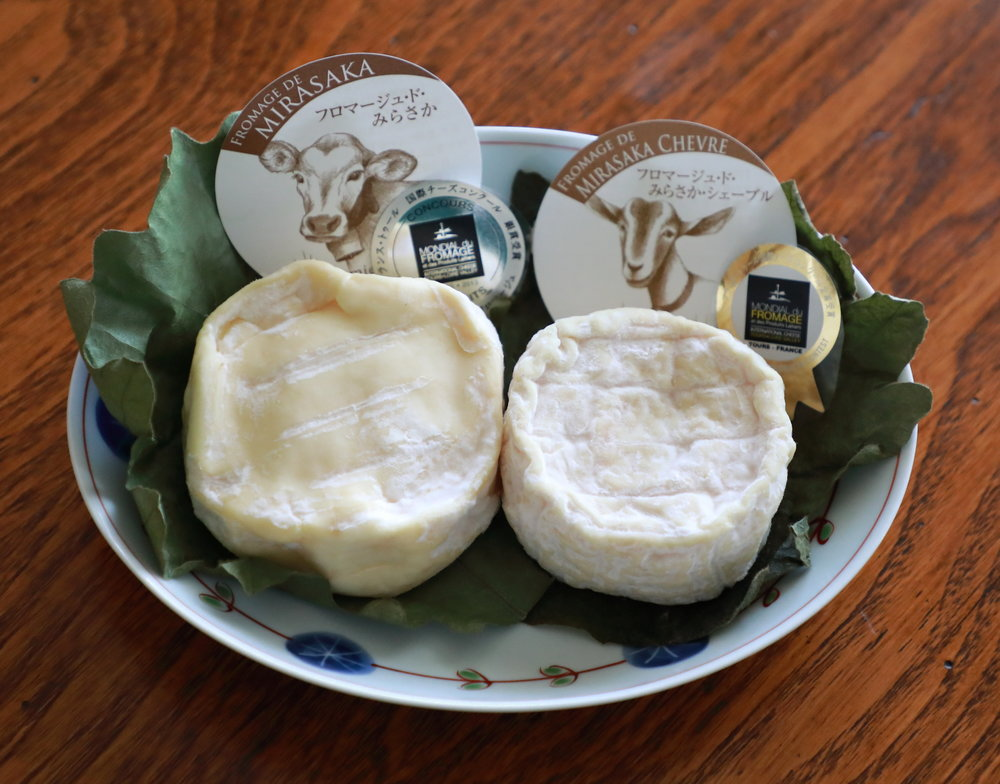 "On the left is Mirasaka Fromage's soft-ripened cow cheese,""Fromage de Mirasaka,"" which won a silver medal at the international Mondial de Fromage competition in France in 2013. On the right is ""Fromage de Mirasaka Chèvre,"" which received the gold medal in the goat cheese category at the same competition in 2015."