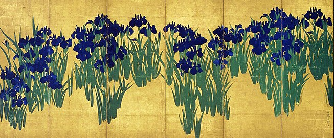 "The bold, elegant, and rhythmically soothing  byobu  folding screen called ""Irises ""  made by Ogata Korin (1658–1716) is one of the most representative and famous works of the Rinpa school."