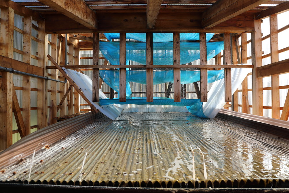 The  shijoka  evaporating rack inside the salt house