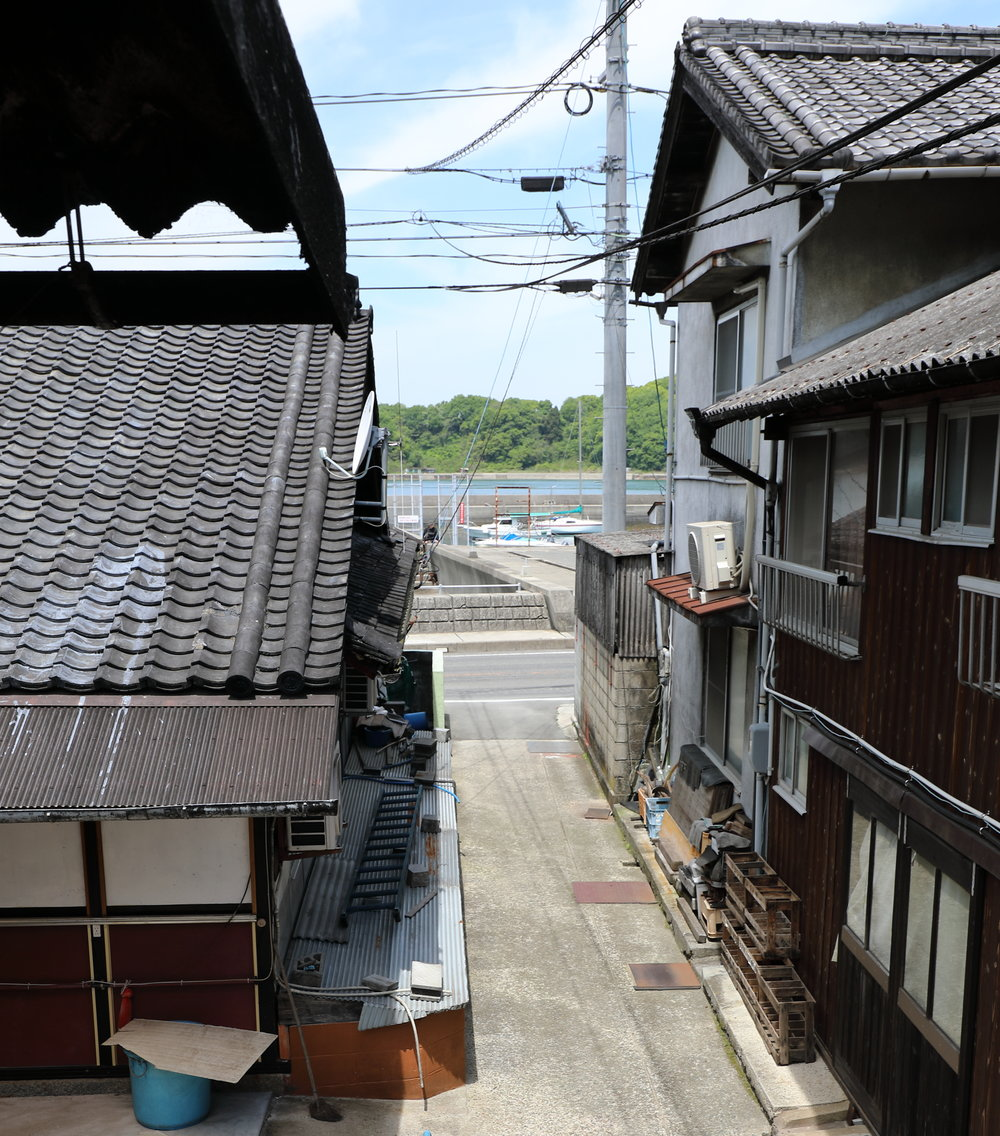Okamoto Soy Sauce is located on the edge of the sea, a short walk from Tarumi Port.