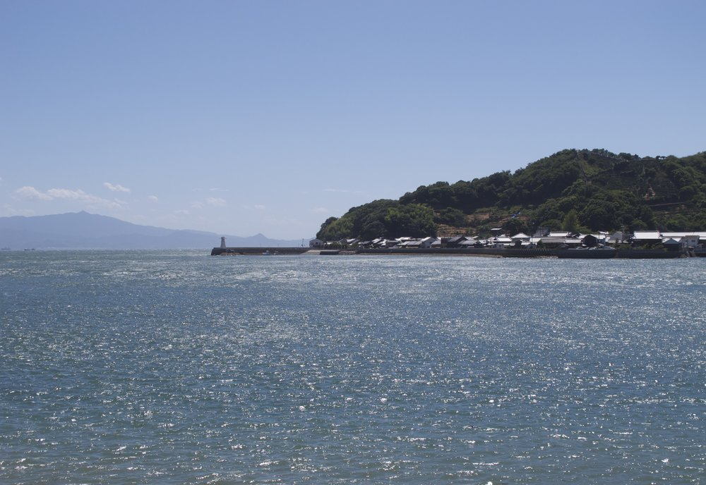 The historic port of Mitarai as seen from Okamoto Island on the other side of Osakishimojima's inner harbor.