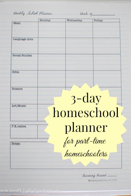 3 day homeschool planner