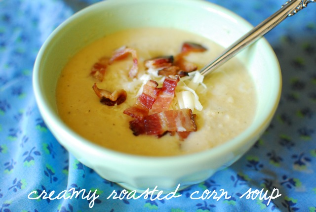 yum, creamy roasted corn soup