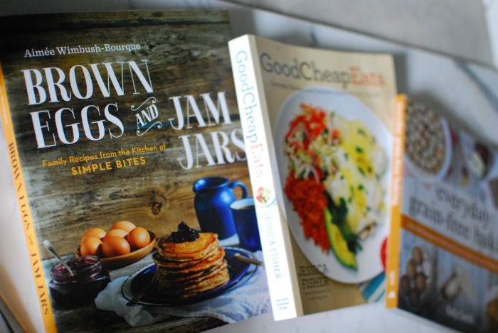 brown eggs and jam jars and 2 more cookbooks