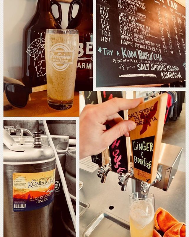 Some beautiful shots of our beautiful kombucha on tap at Persephone Brewery.  Up on the menu board you can see the Kom-brew-cha - booch and beer, together again!  Brilliant!!!