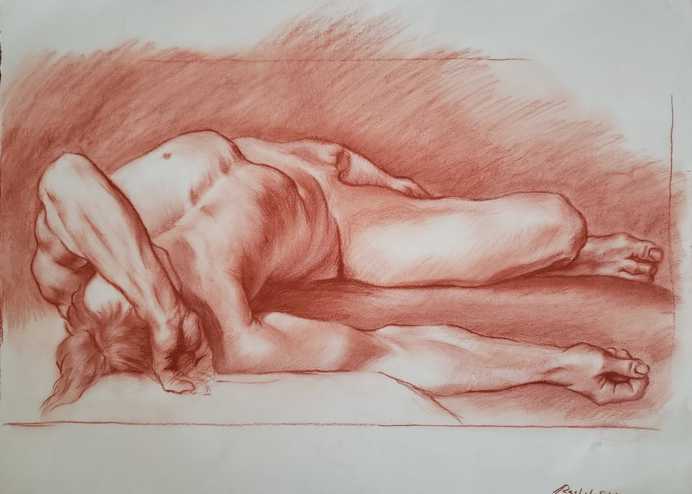 Master Study, Colored Charcoal