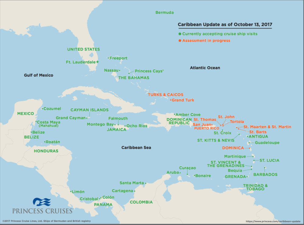 Fewer than 10% of the ports in the Caribbean have been affected by recent storms. And between now and October 31, Princess Cruises is offering an incredible deal on Caribbean and Panama Canal Cruises, with $1 deposits and free gratuities. Contact us to book today!