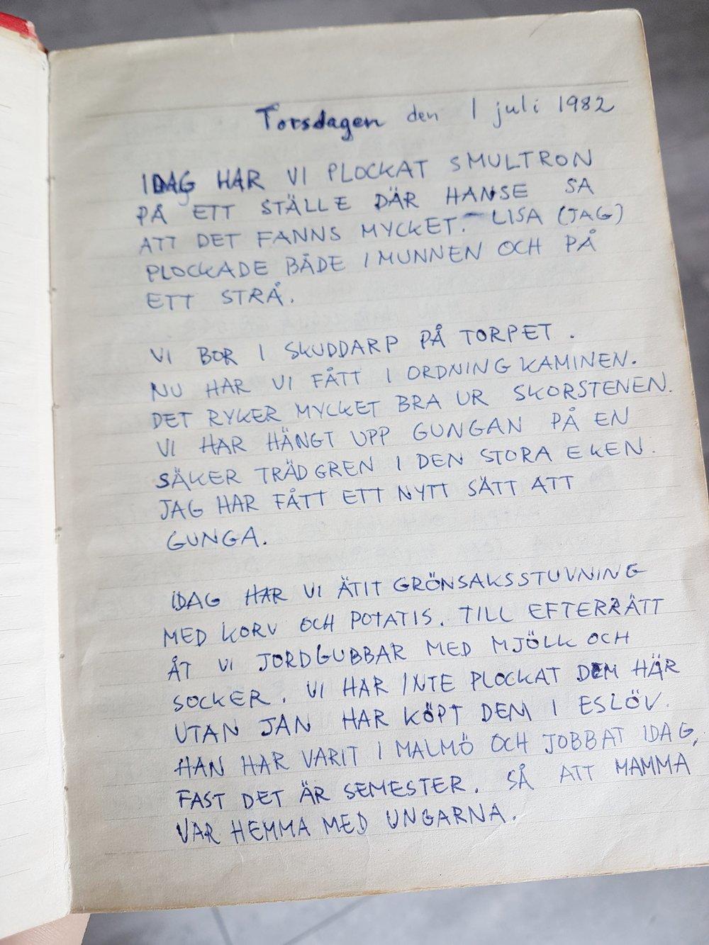 Den allra första sidan i min allra första dagbok.