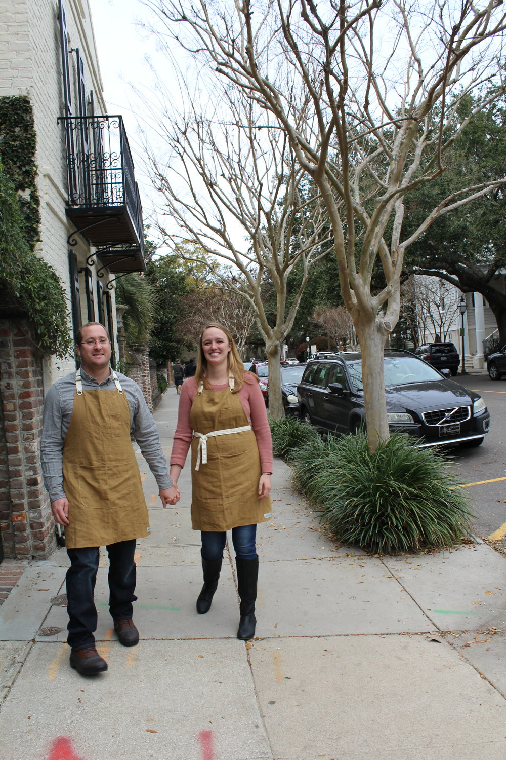 We spent the whole afternoon walking around Charleston in our aprons. People kept asking us what we were doing and where we got these cool aprons.