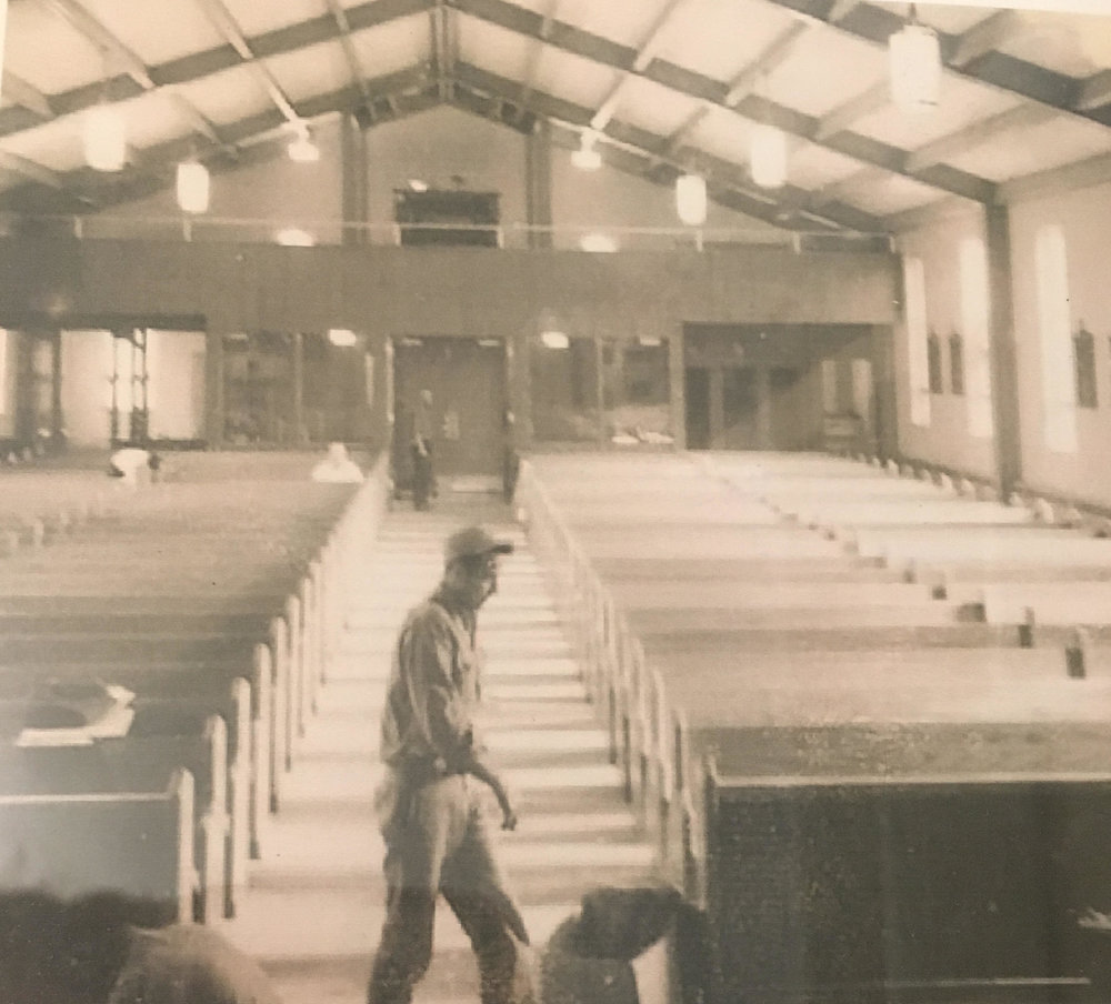 "Founder Richard ""Bud"" Wakeman at the construction of the Sidney Catholic Church"