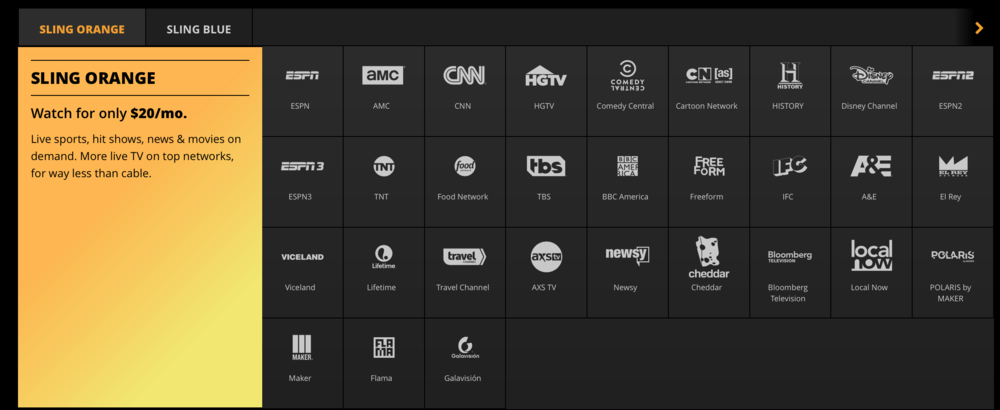 Image from SlingTV: a great option for basic TV for a low price. Courtesy of SLINGTV.com