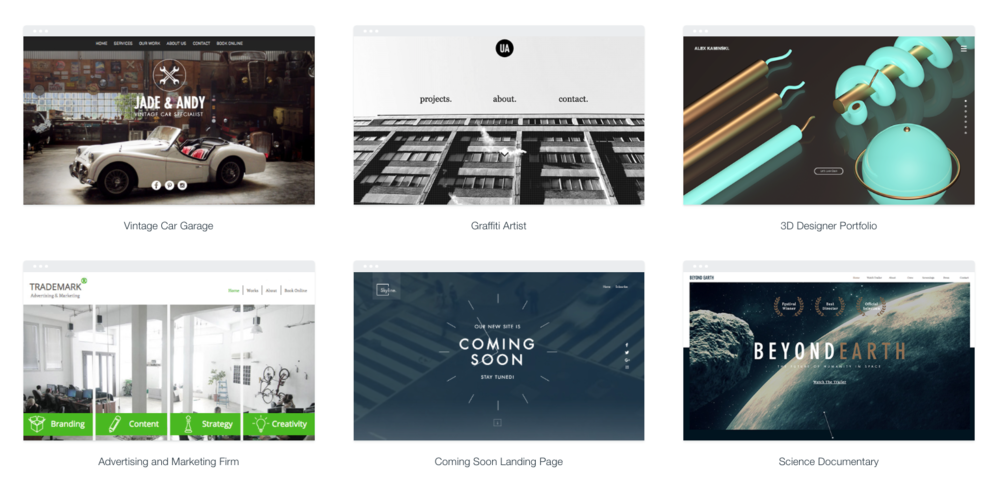 A variety of WIX templates are available for customization.