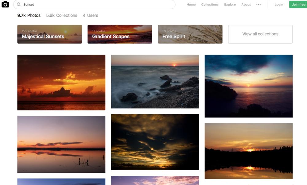 Example of the unsplash photostock page - unsplash.com
