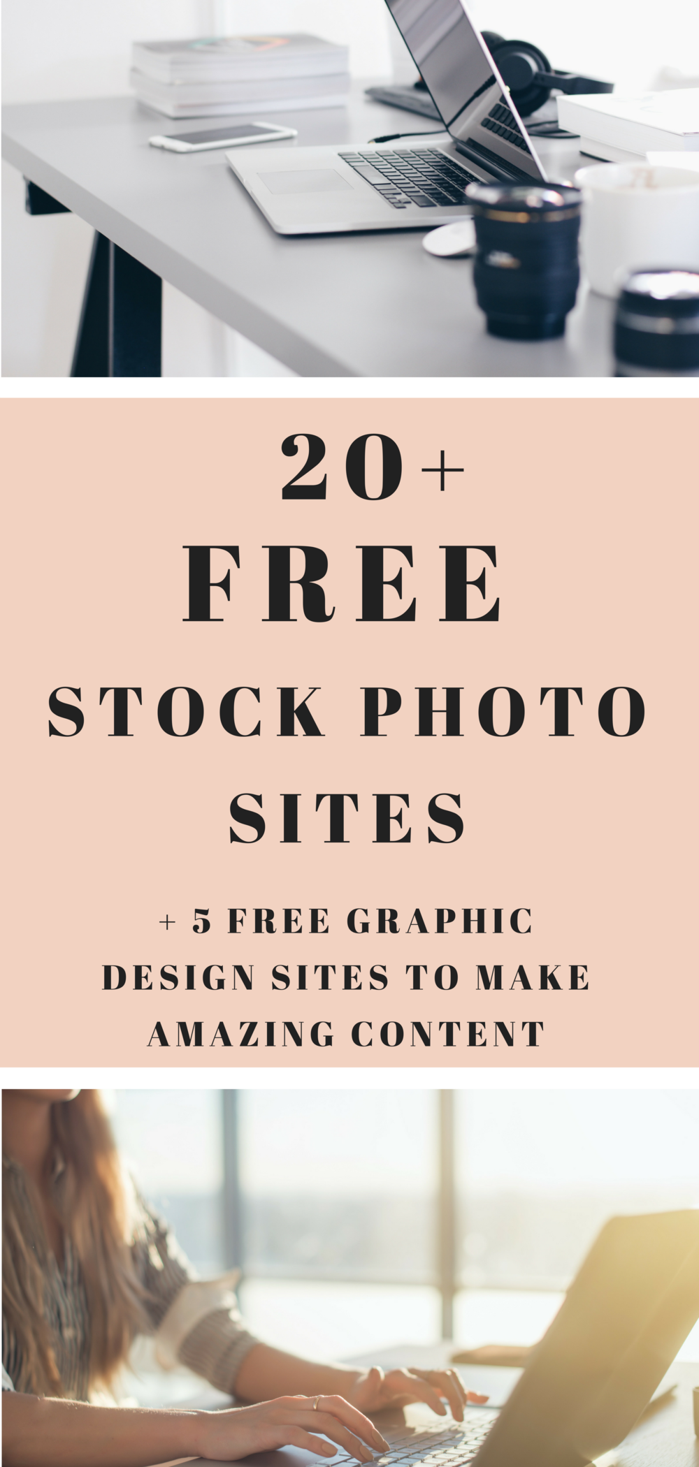 FREE list of stock photo sites and graphic design software to rock your blog and business.  Take your creativity to the next level for no cost at all! #marketing #creating #bloggingtips