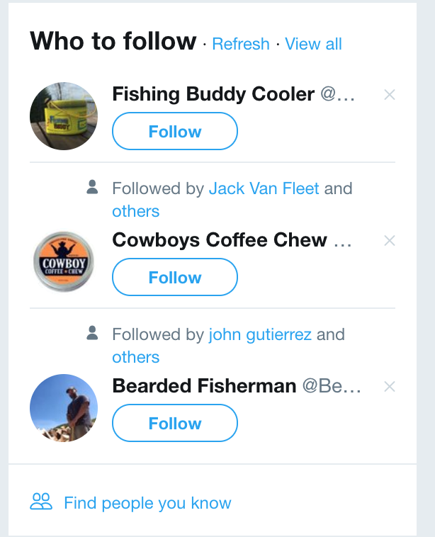 Above is an example of the Twitter sidebar that helps recommend you followers. Use it.