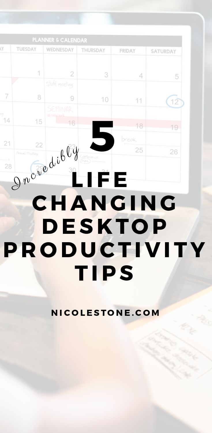 Desktop productivity tips that will change your life! These 5 super simple tips will help you declutter your work place and become much more productive at work! #productivity #minimalism #improvement #selfimprovement #personaldevelopment #worktips