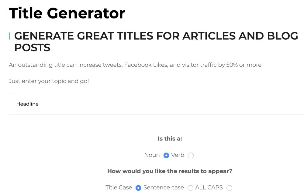 Tweak Your Biz Title Generator.