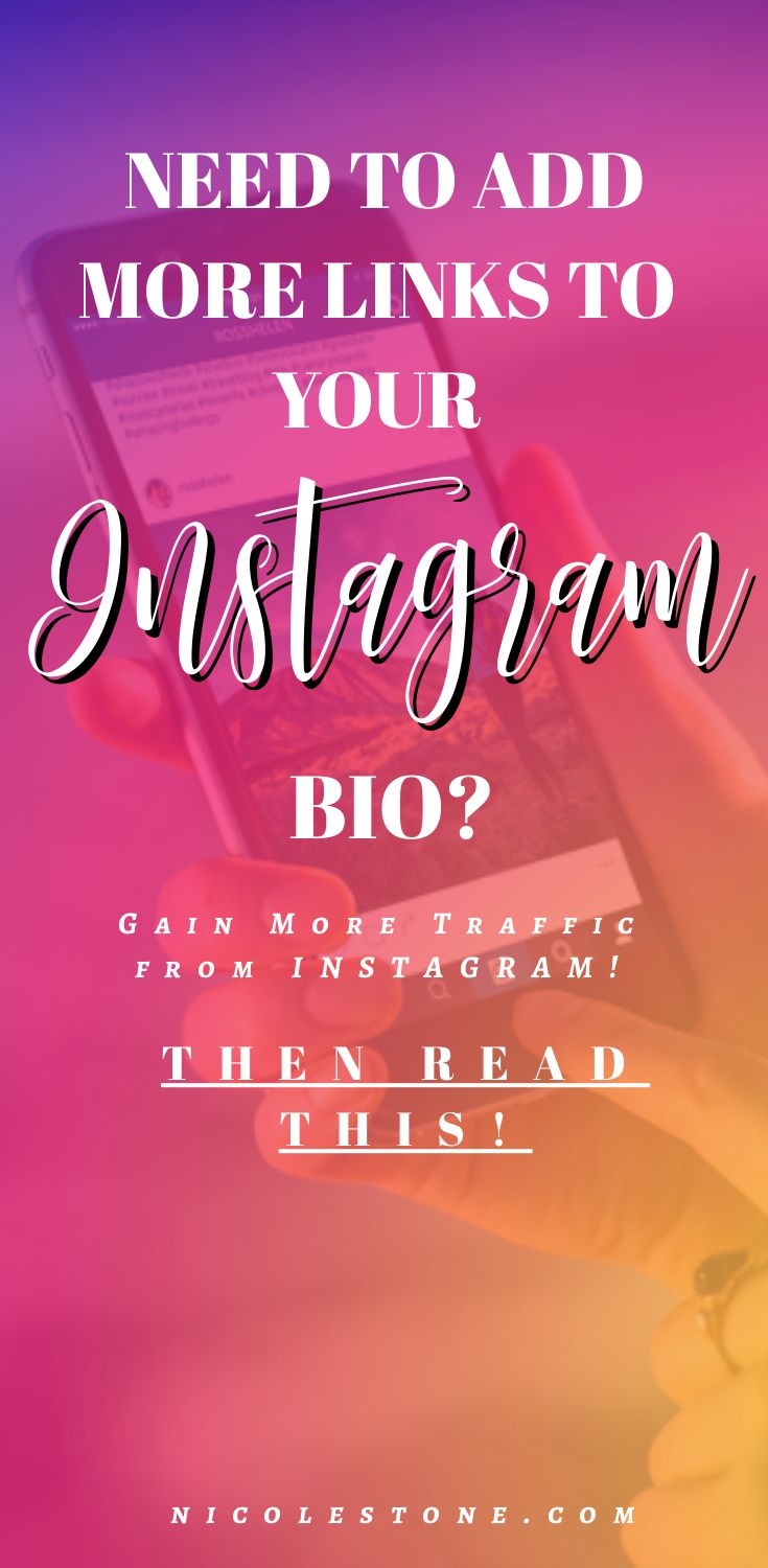 Awesome Instagram trick to add more links to your Instagram bio! Having more links help you push people to multiple platforms, suit your difference audiences, and provide overall better content. #Instagram #socialmedia #marketing #blogging #instagramtips #marketingtips #digitalmarketing #Bloggingtips