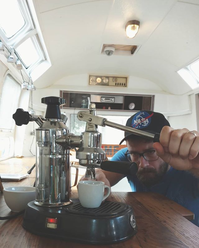 When your espresso machine is at the shop, but you still need espresso...things get a little old school. If you're patient, Matt will pull you a lever shot from the La Pavoni. Lungo shots for days. AM only. . . . . #blankslatecoffee  #coffeeshop  #airstream  #lapavoni  #leverespresso