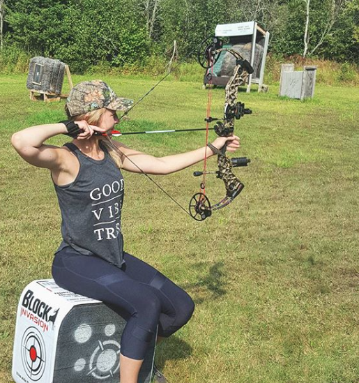 Practicing the sitting shot with my Mathews Chill SDX. This type of shooting is good training for shooting from a ground blind.