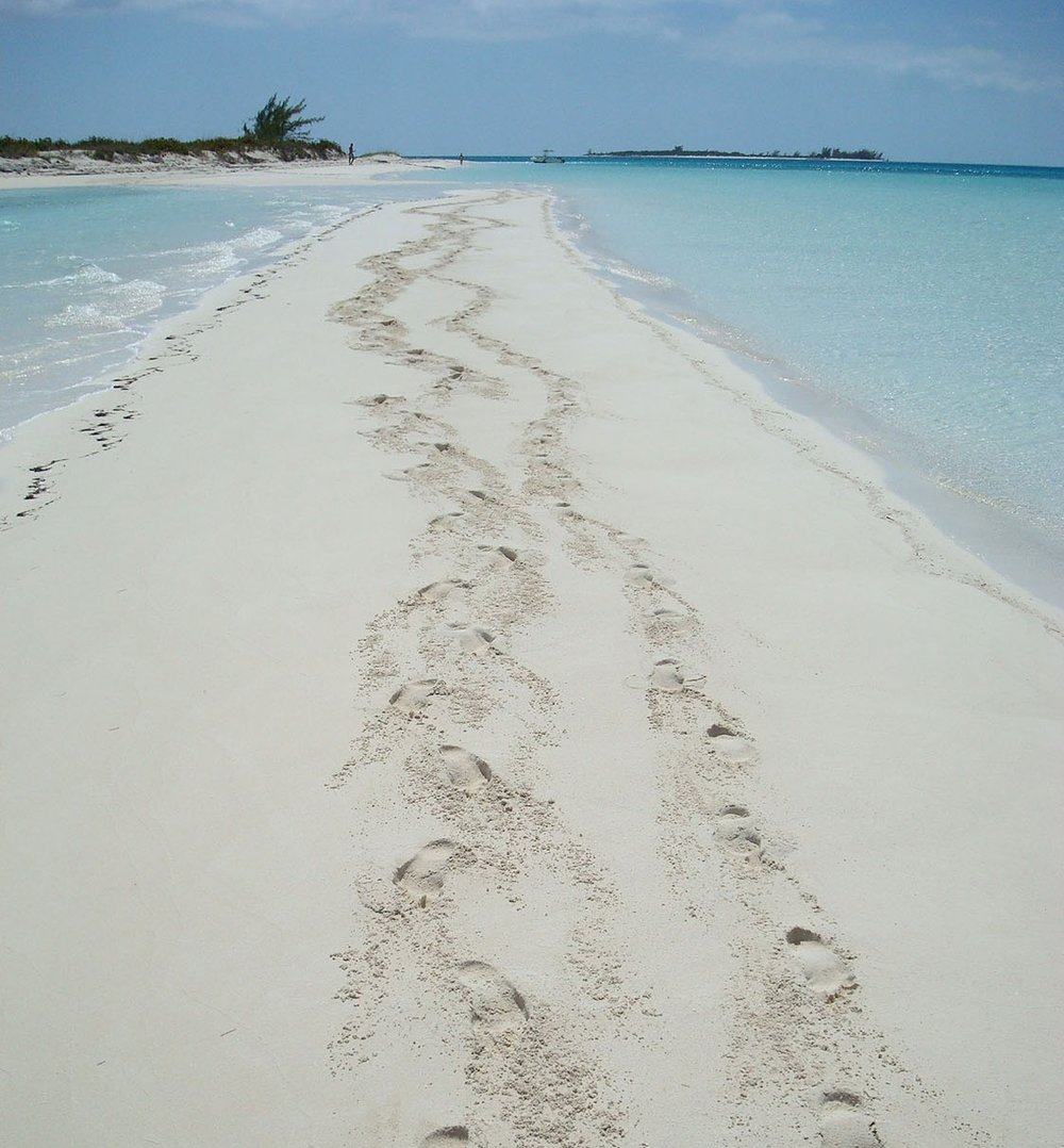 Footsteps in the sand near Jack's Bay Club