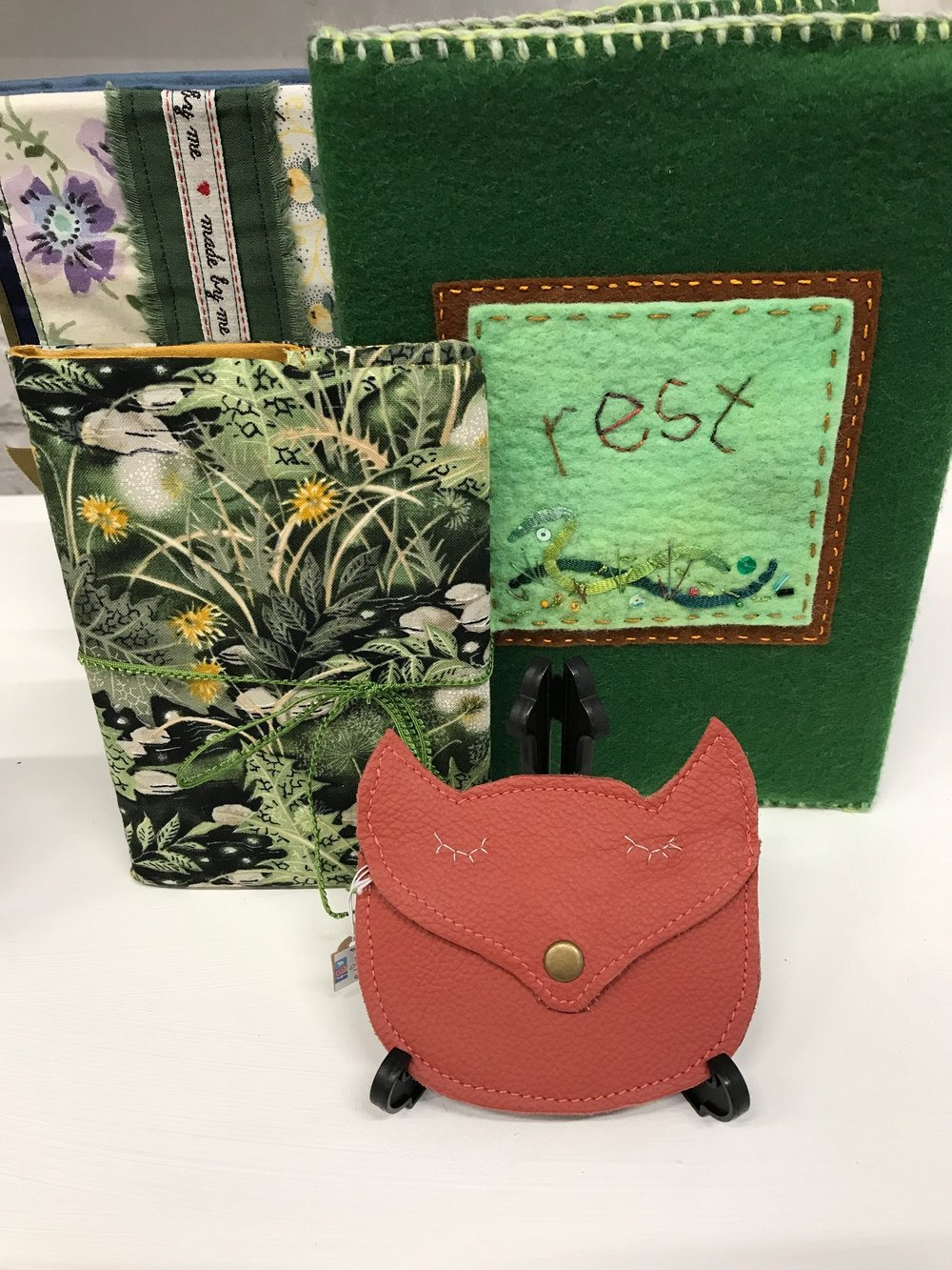 Notebooks by Harlequin Arts and Marcia Wilson. Fox Purse by Shadow Crafts