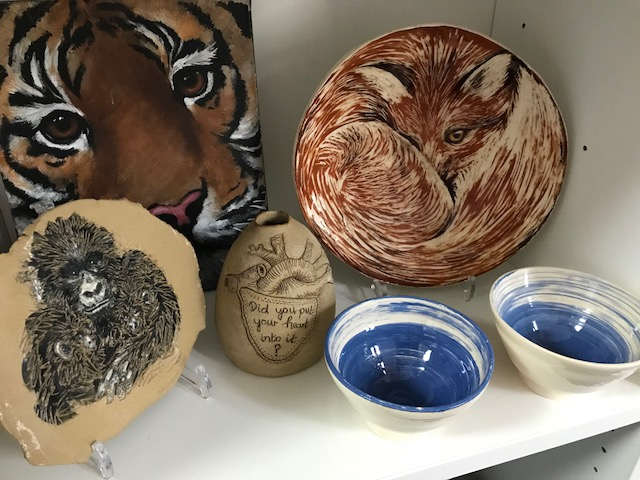 A variety of ceramic pieces By Deborah (Drawn and Fired).